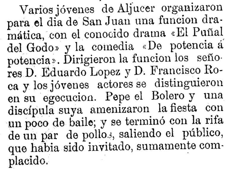 FIESTAS DE ALJUCER CON BAILE BOLERO EN 1882