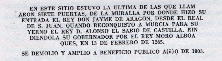 LÁPIDA CONMEMORATIVA. SANTA EULALIA (MURCIA)